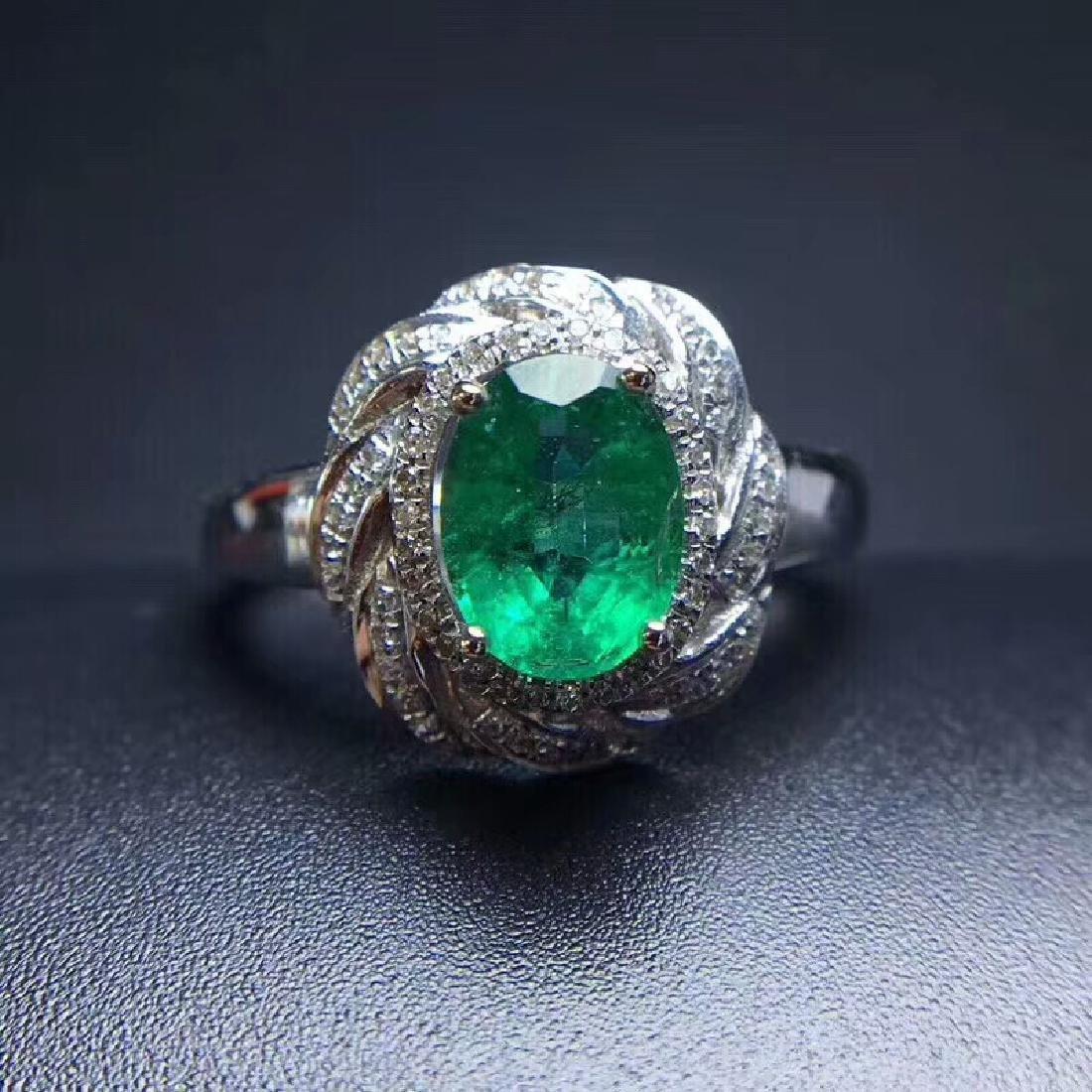 1.24 CTW Emerald & VS Diamond Ring 18K