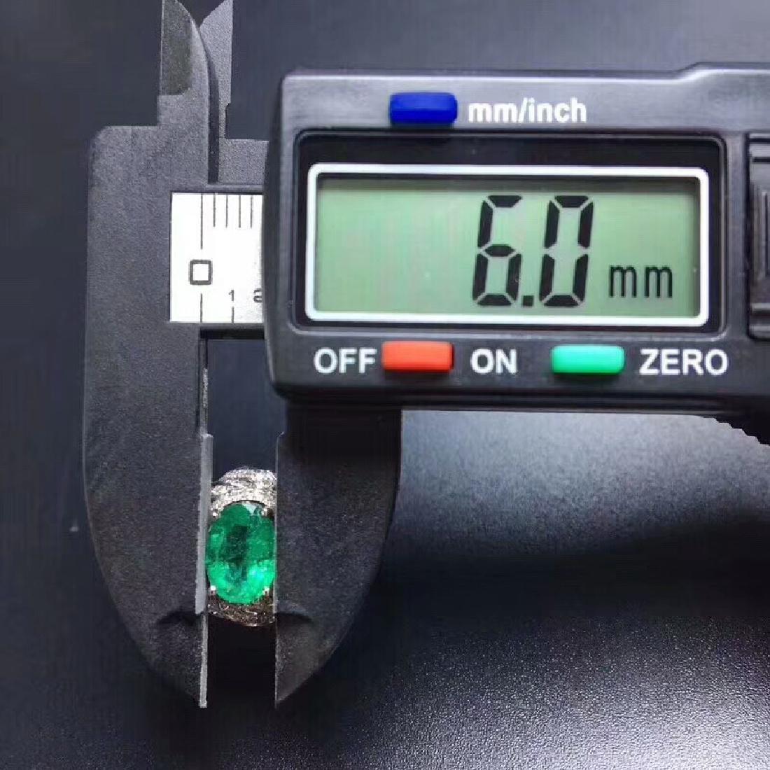 1.24 CTW Emerald & VS Diamond Ring 18K - 6