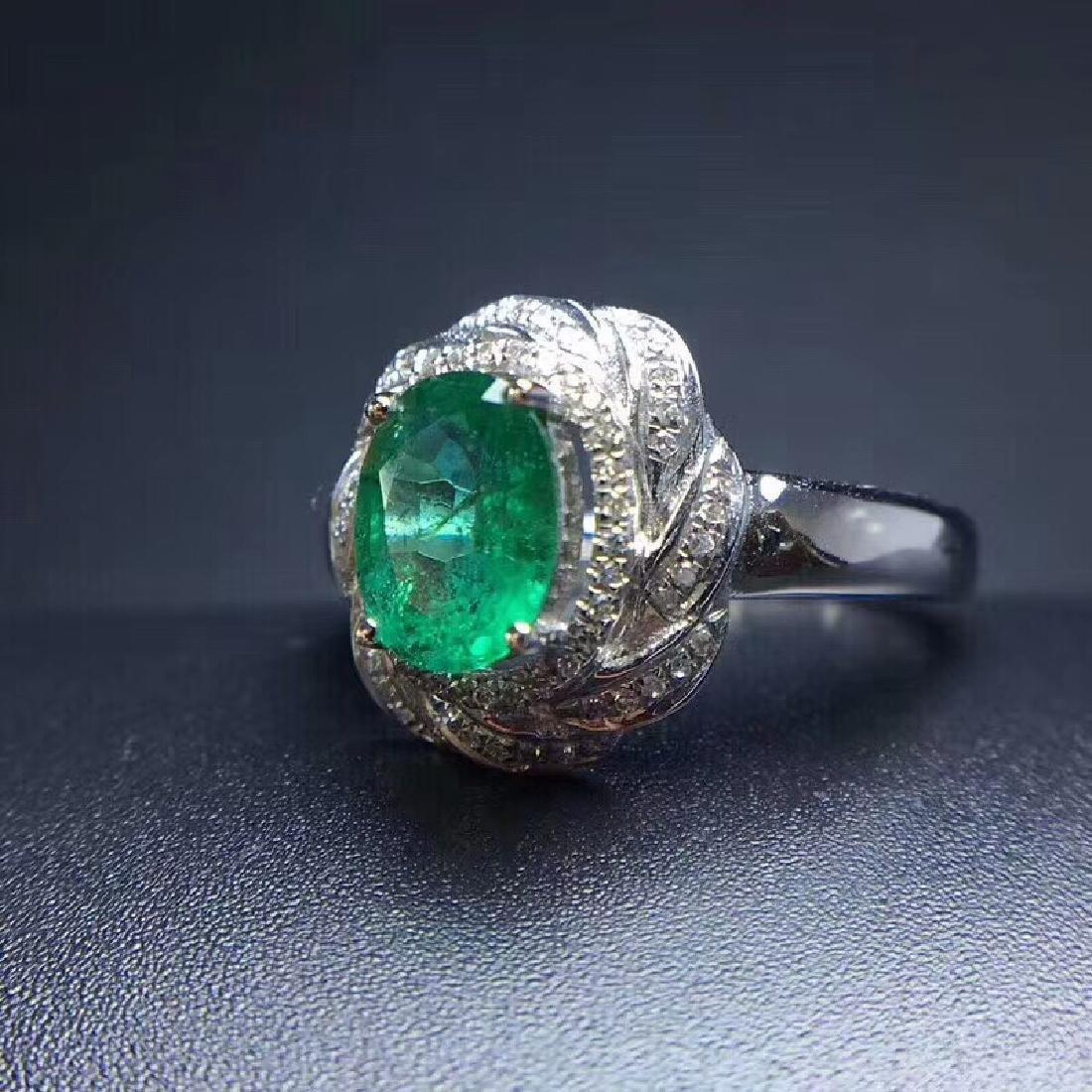 1.24 CTW Emerald & VS Diamond Ring 18K - 8