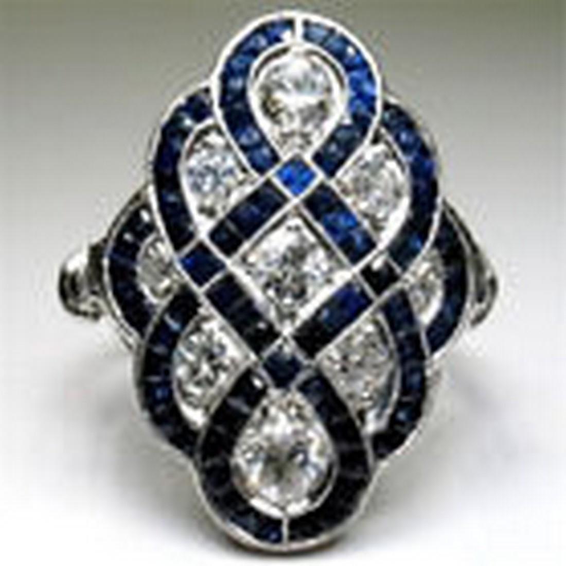 925 silver ring sapphire & white topaz Size 8