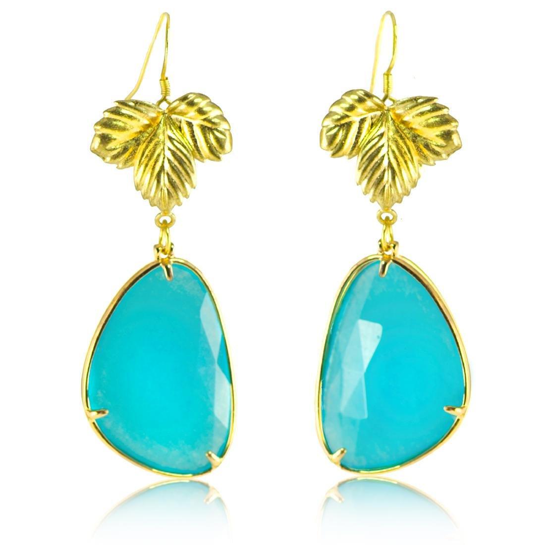 Azure Blue Jade Leaf Earrings