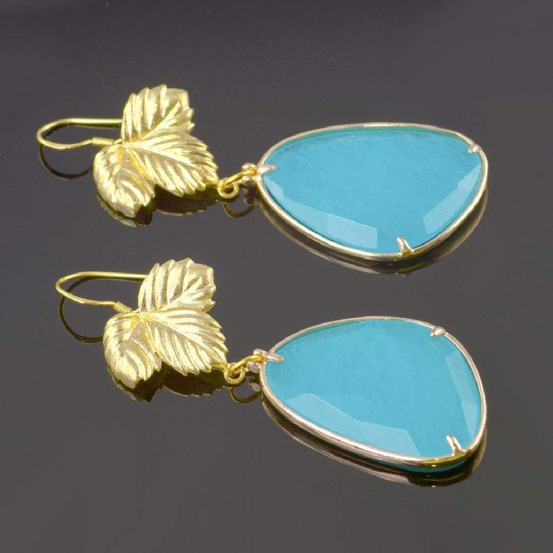 Azure Blue Jade Leaf Earrings - 2
