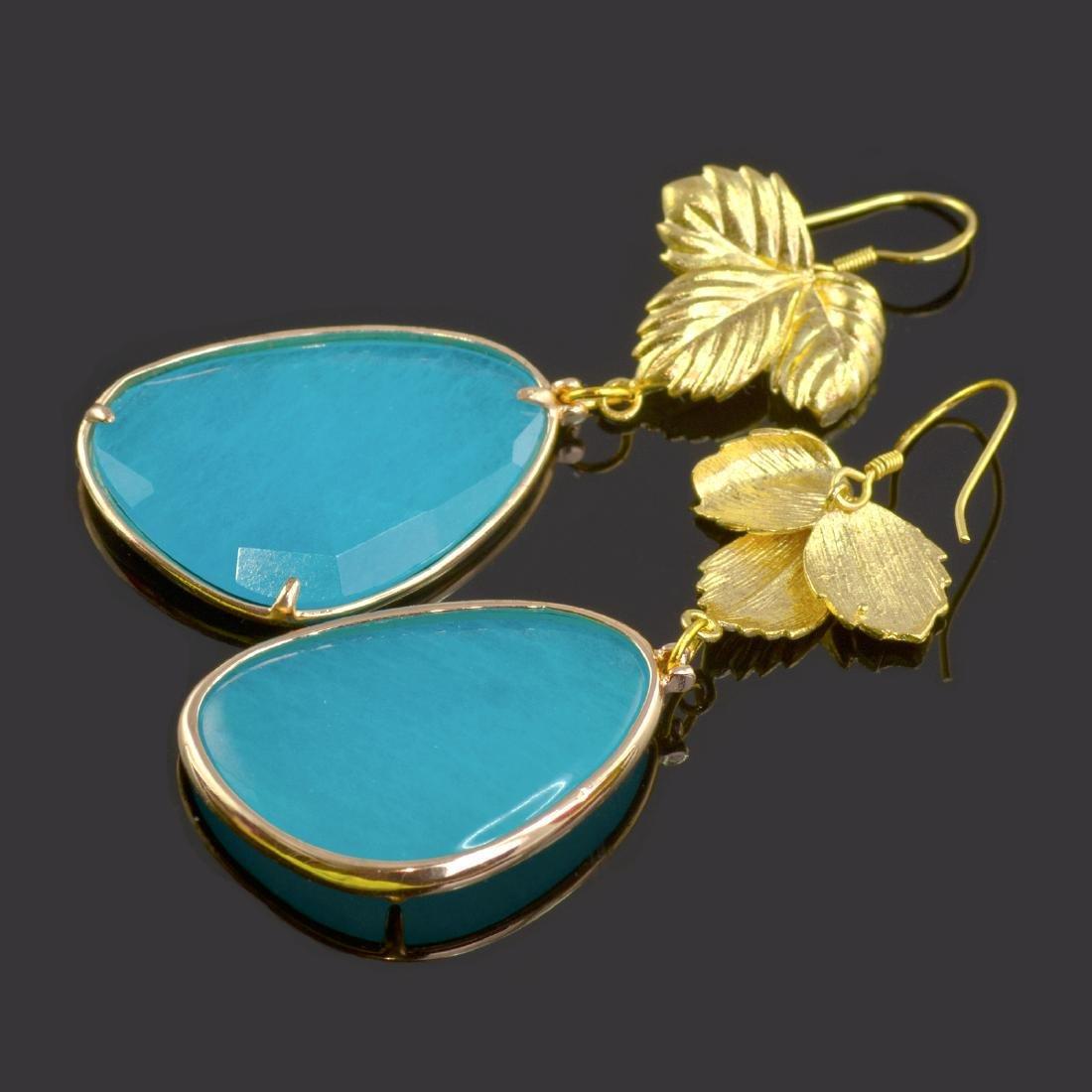 Azure Blue Jade Leaf Earrings - 3