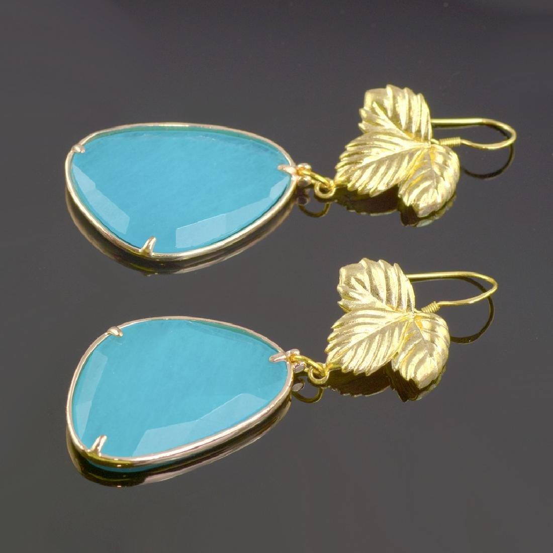 Azure Blue Jade Leaf Earrings - 4