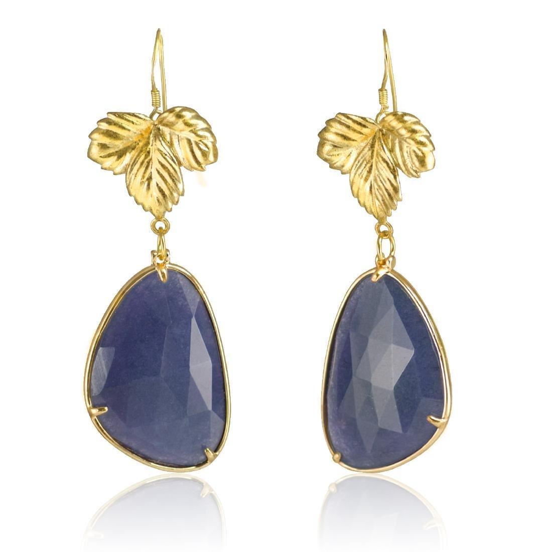 Royal Blue Jade Leaf Earrings