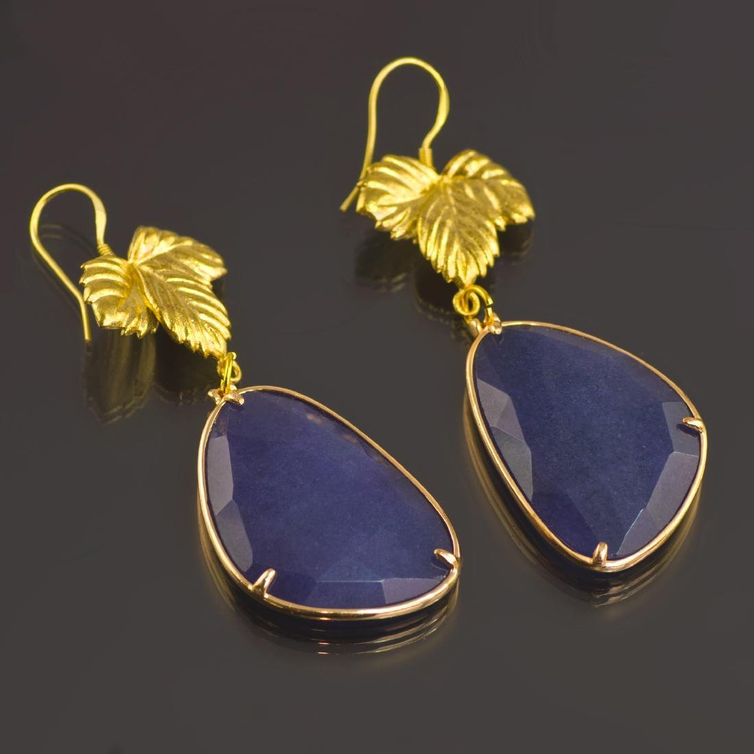 Royal Blue Jade Leaf Earrings - 2