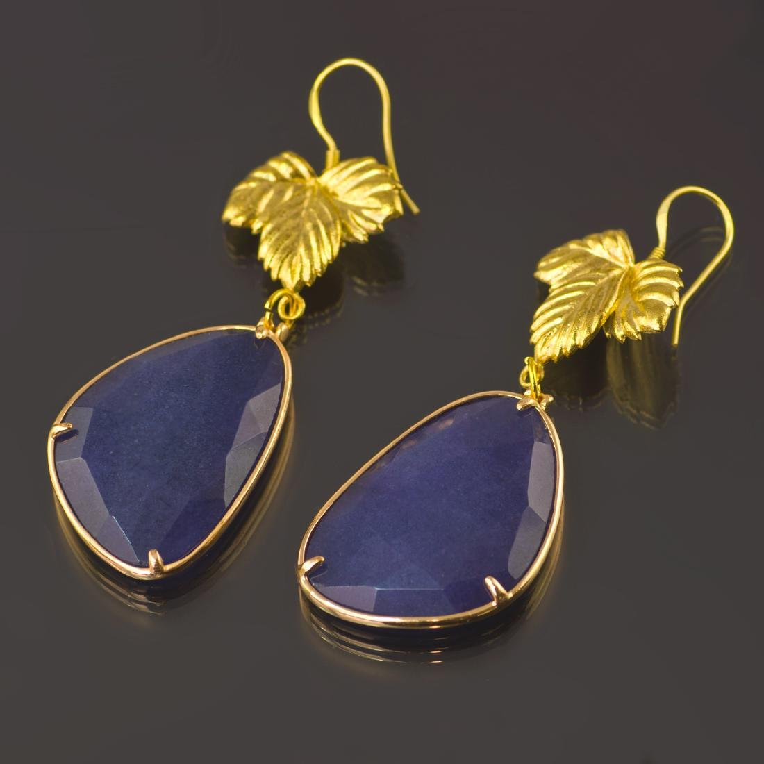Royal Blue Jade Leaf Earrings - 3