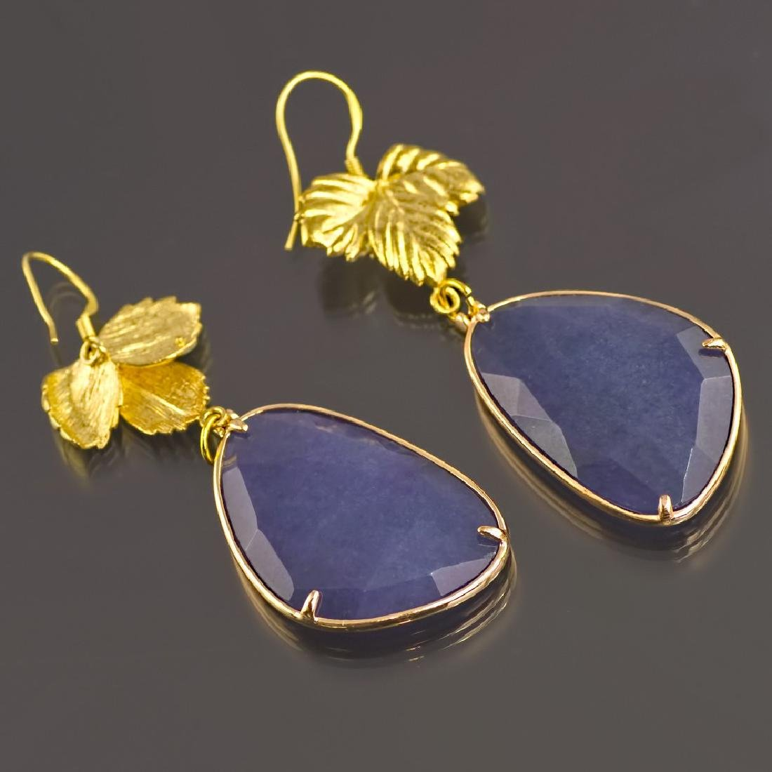 Royal Blue Jade Leaf Earrings - 4
