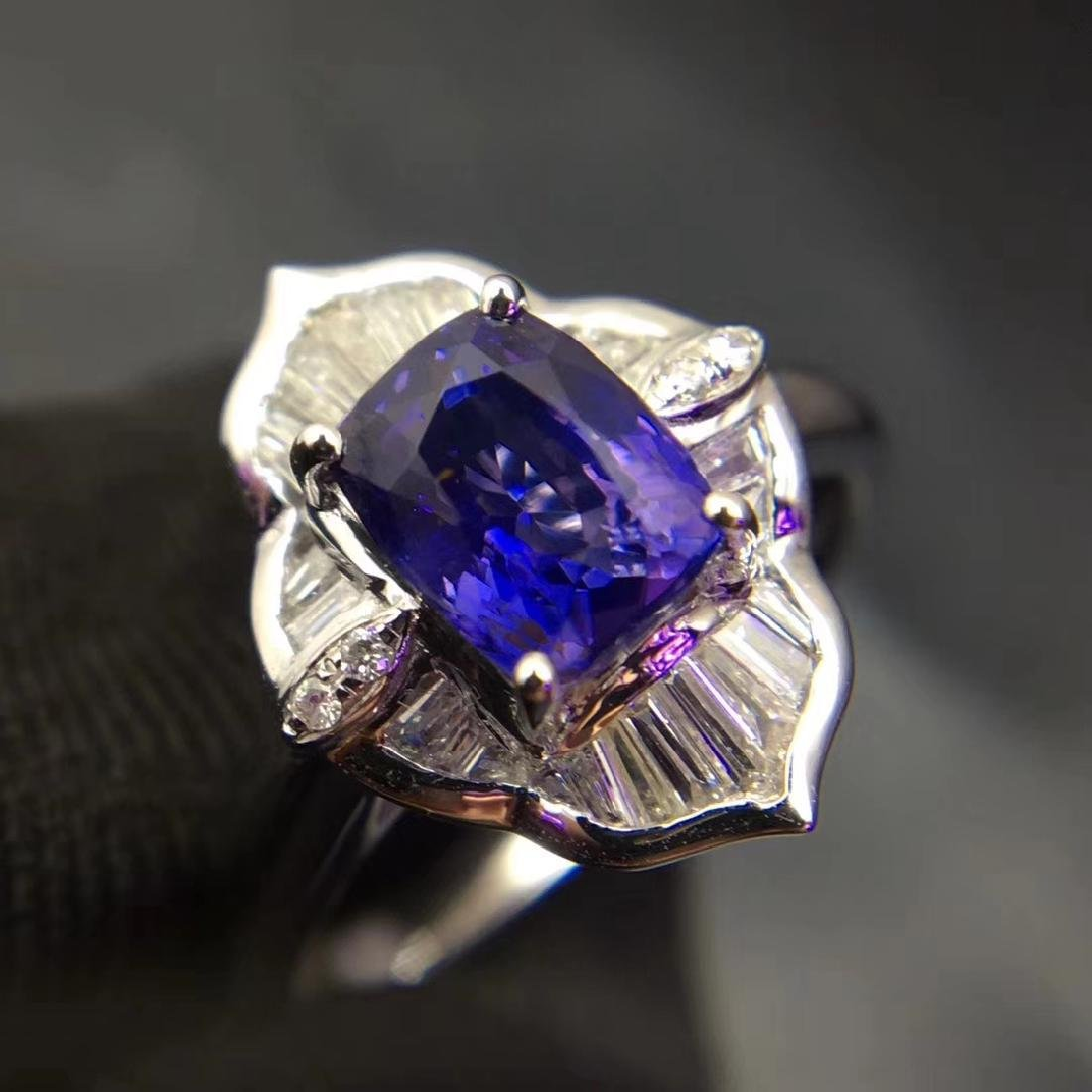 1.52ct Sapphire Ring in 18kt white Gold - 5