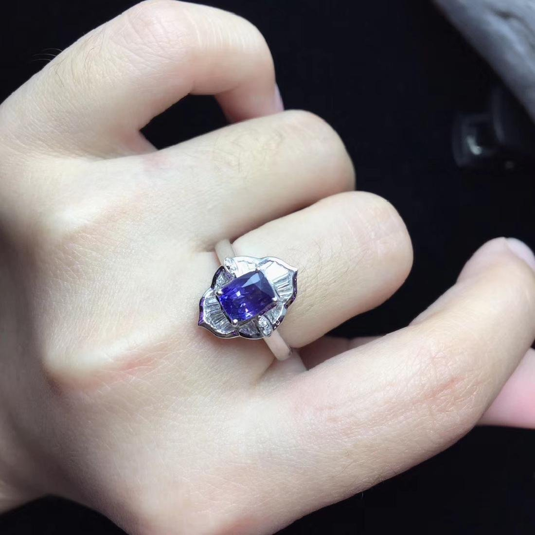 1.52ct Sapphire Ring in 18kt white Gold - 6
