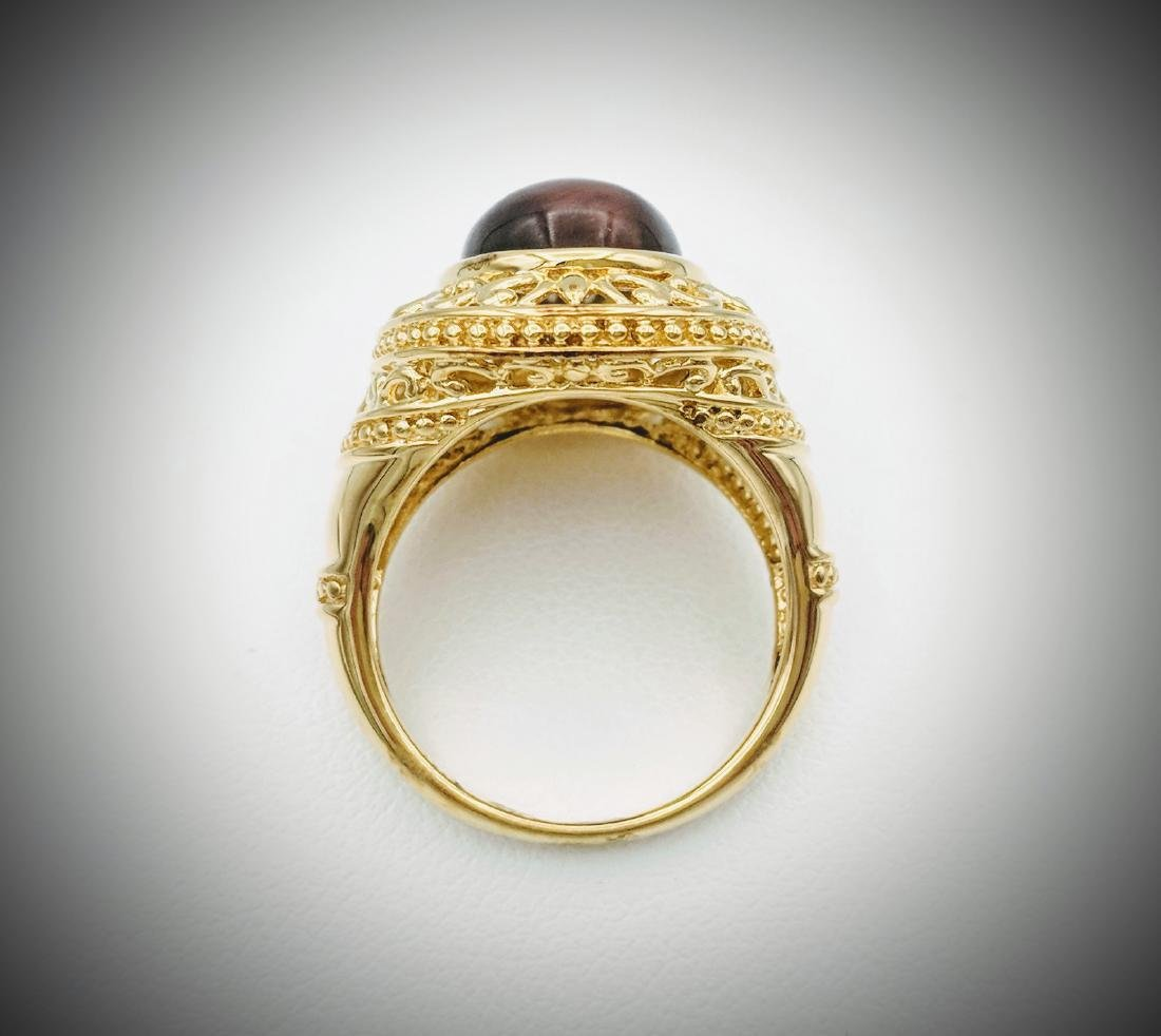 Gold Plated Tigers Eye Ring - 3