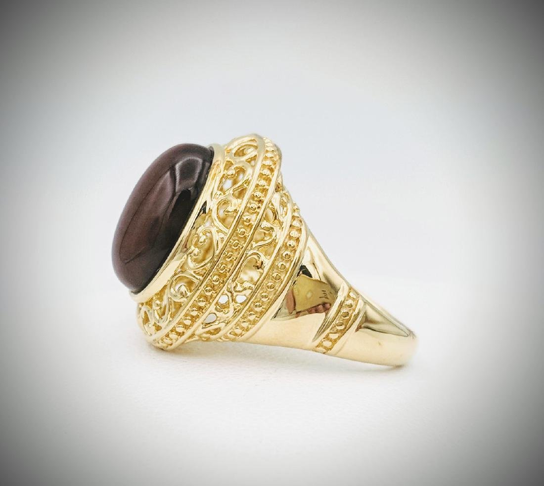 Gold Plated Tigers Eye Ring - 4