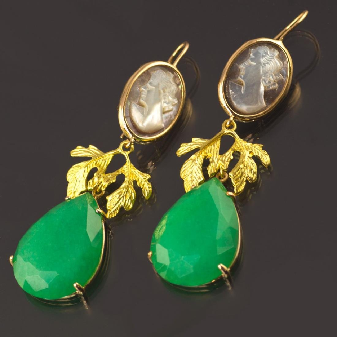 Classic Earrings with Jade and Cameo - 2