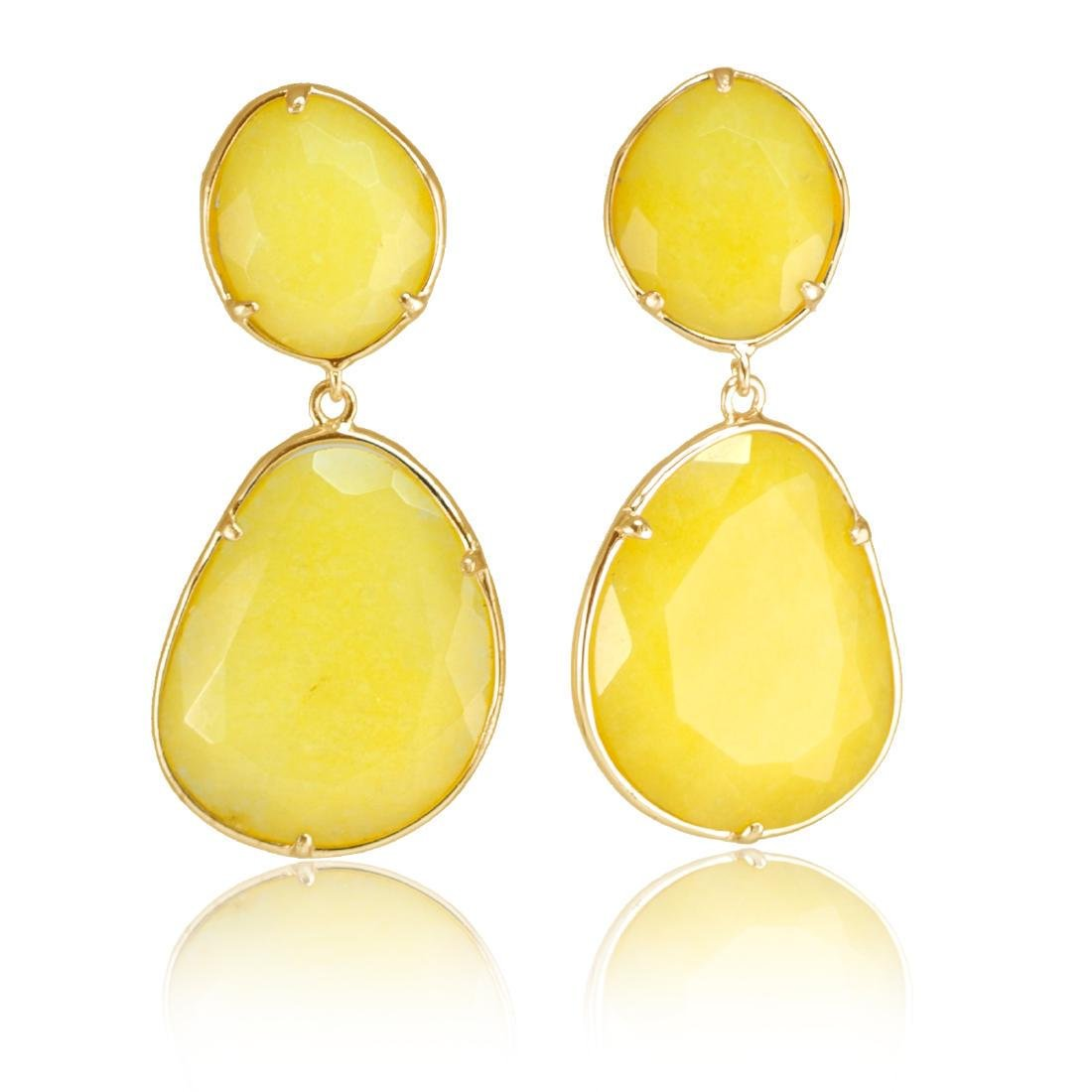 Yellow Jade Two Parts Earrings