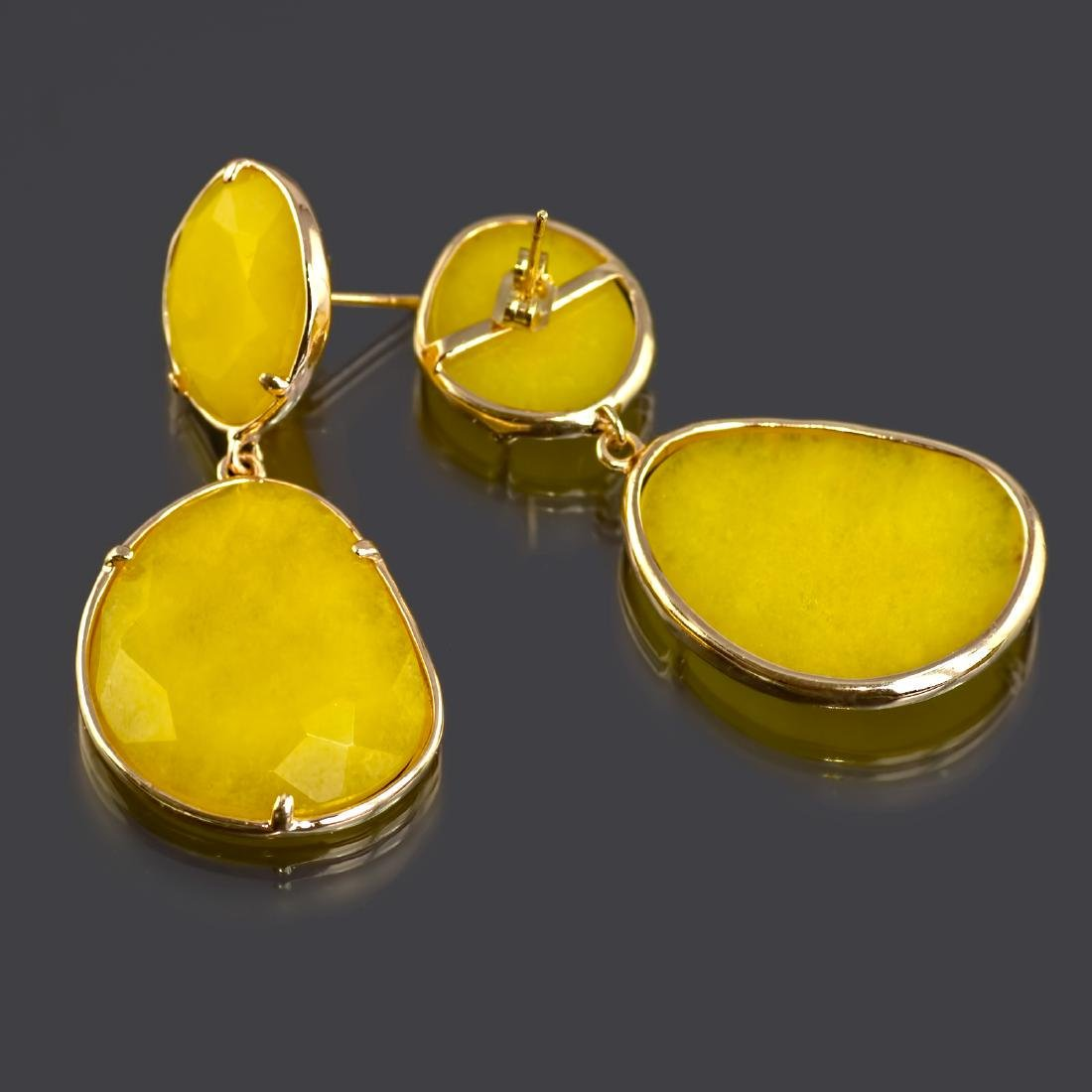 Yellow Jade Two Parts Earrings - 3