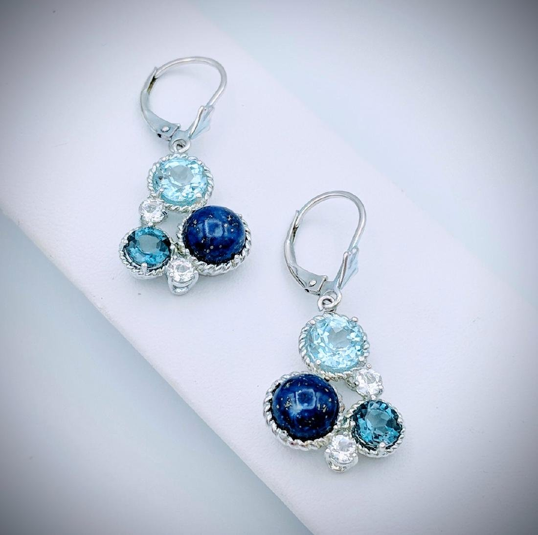 Sterling Silver Lapis Lazuli, Blue Topaz, and Cubic