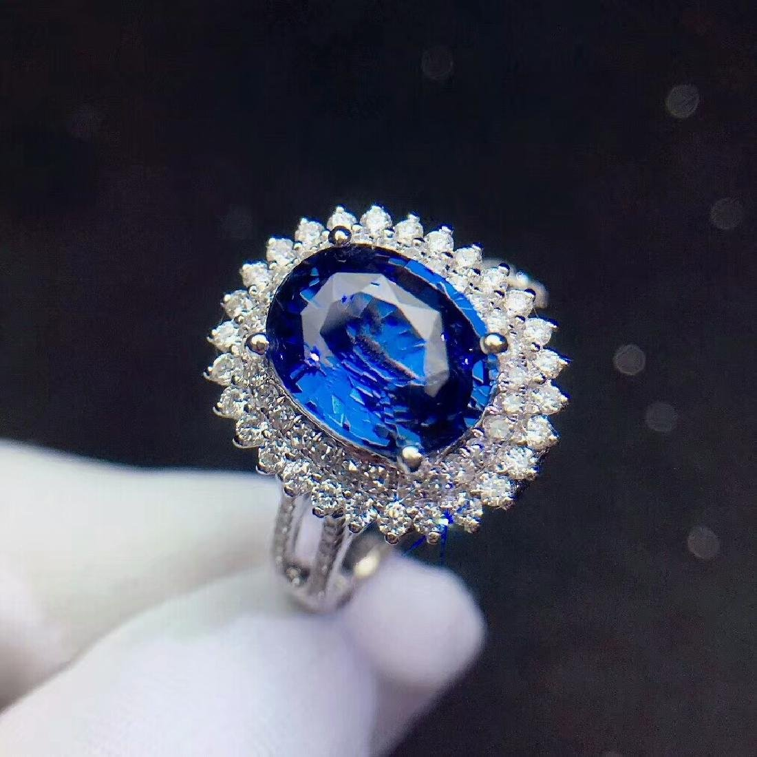 3.04ct Sapphire Ring in 18kt white Gold - 2