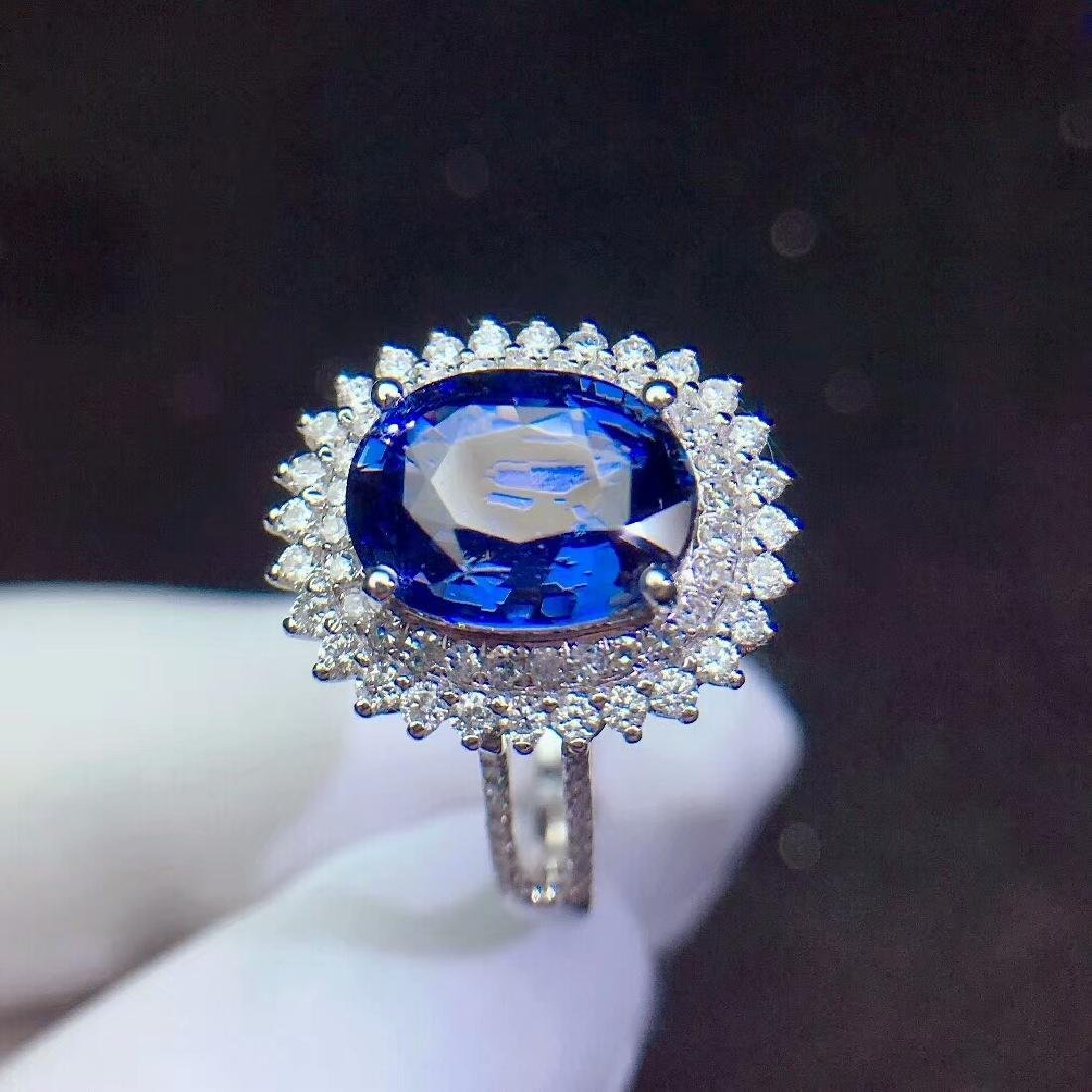 3.04ct Sapphire Ring in 18kt white Gold - 4
