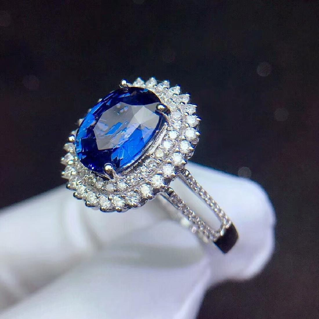 3.04ct Sapphire Ring in 18kt white Gold - 5