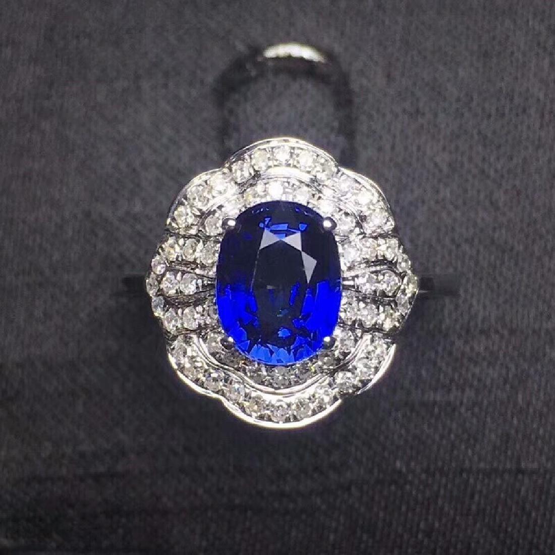 2.14 CTW Sapphire & VS Diamond Ring 18K