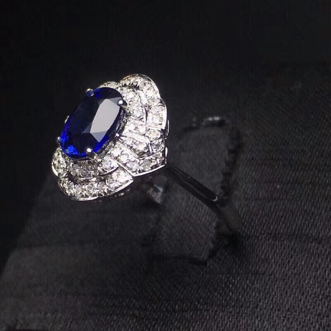 2.14 CTW Sapphire & VS Diamond Ring 18K - 3