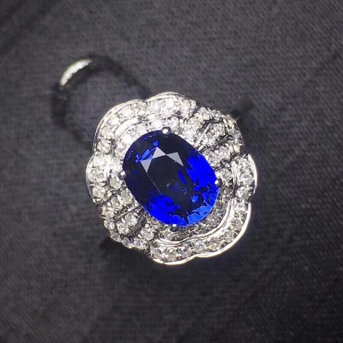 2.14 CTW Sapphire & VS Diamond Ring 18K - 5