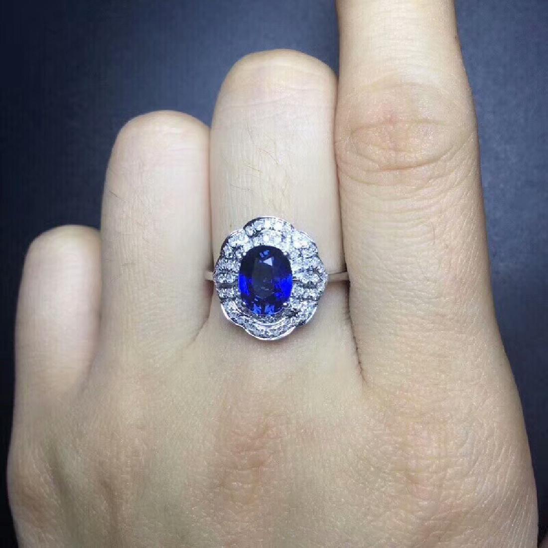 2.14 CTW Sapphire & VS Diamond Ring 18K - 6