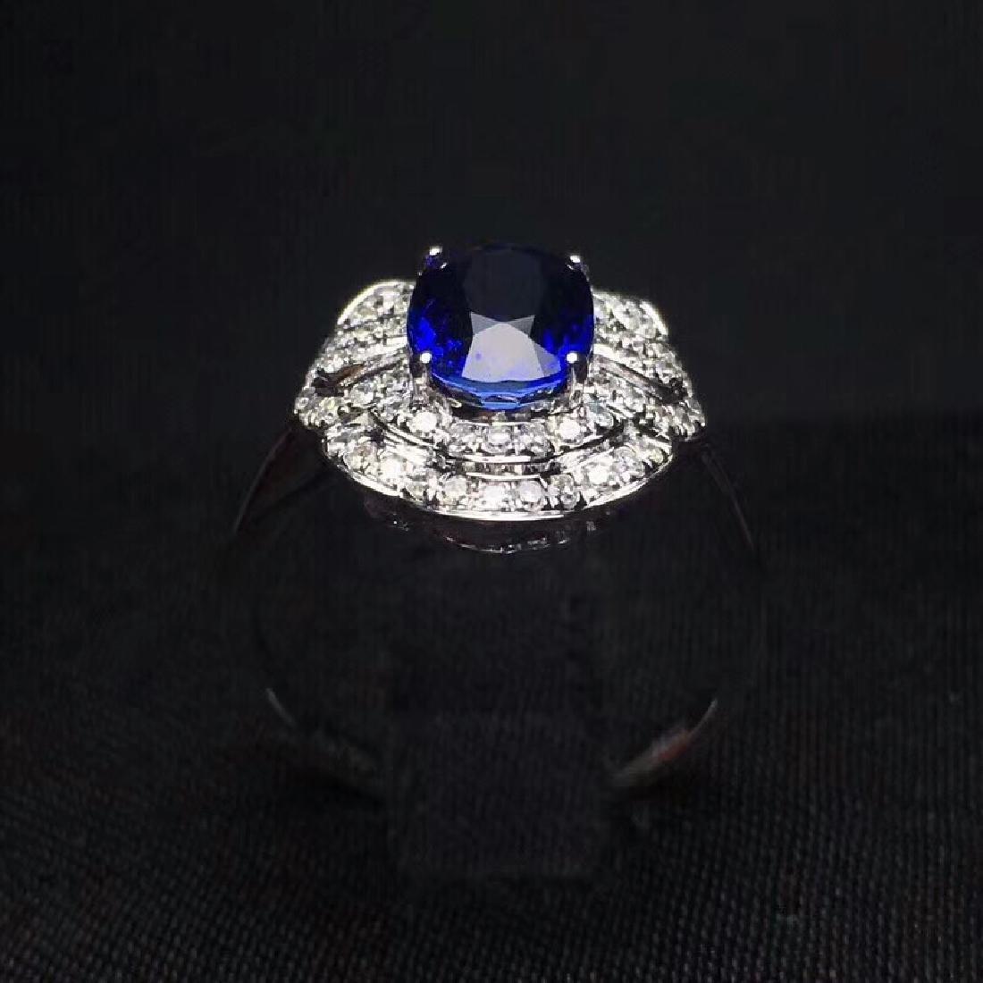 2.14 CTW Sapphire & VS Diamond Ring 18K - 8