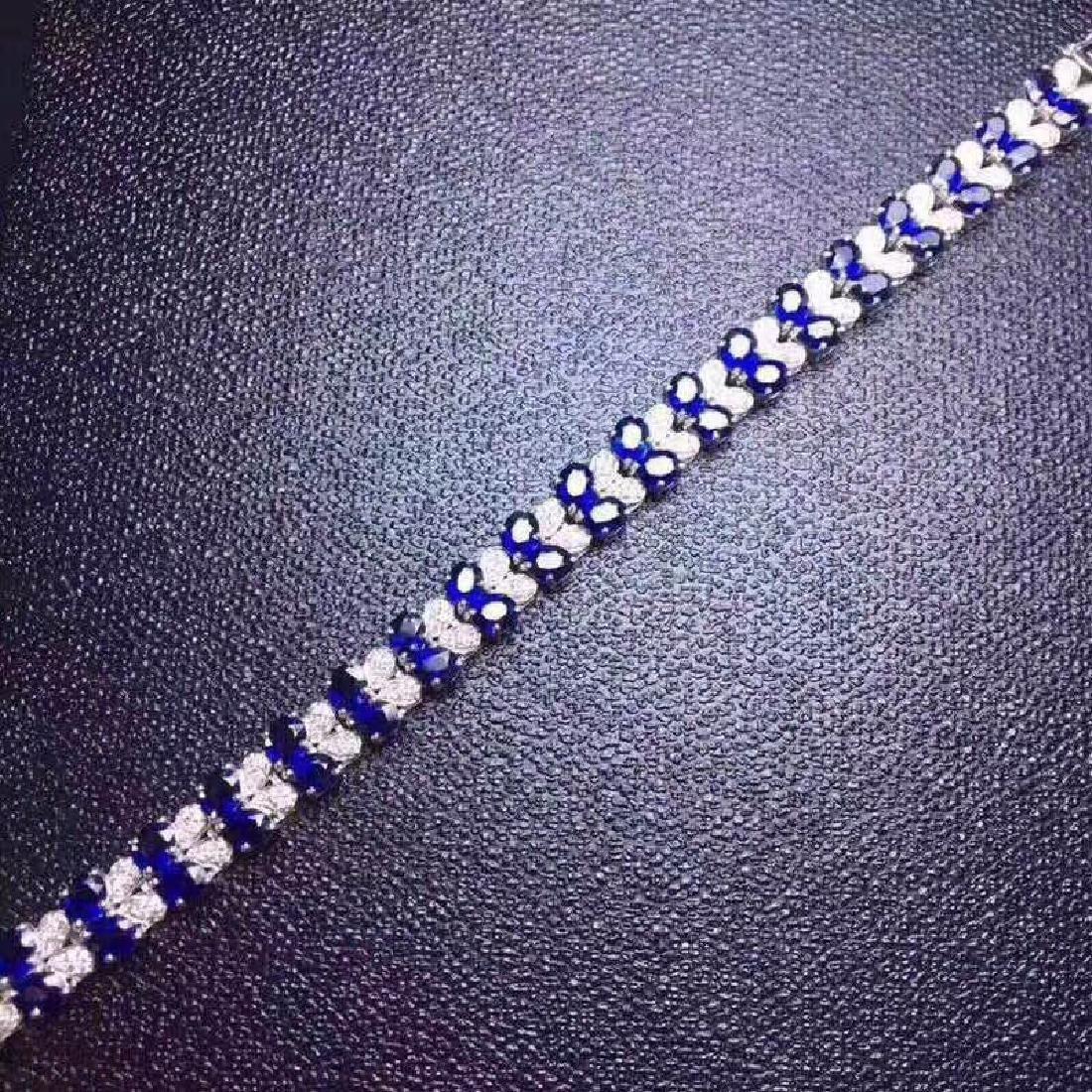 17.20 CTW Sapphire & VS Diamond Bracelets 18K - 8