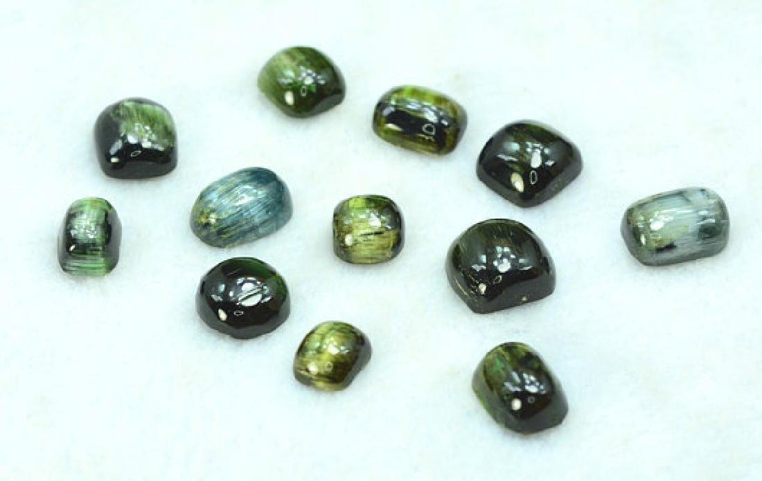 50.10 carats Untreated Cats Eye Tourmaline Cabochons - 3