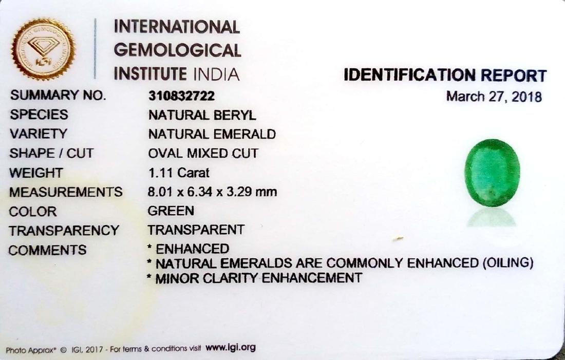 IGI Certified 1.11 Ct Genuine Zambian Emerald Good - 4