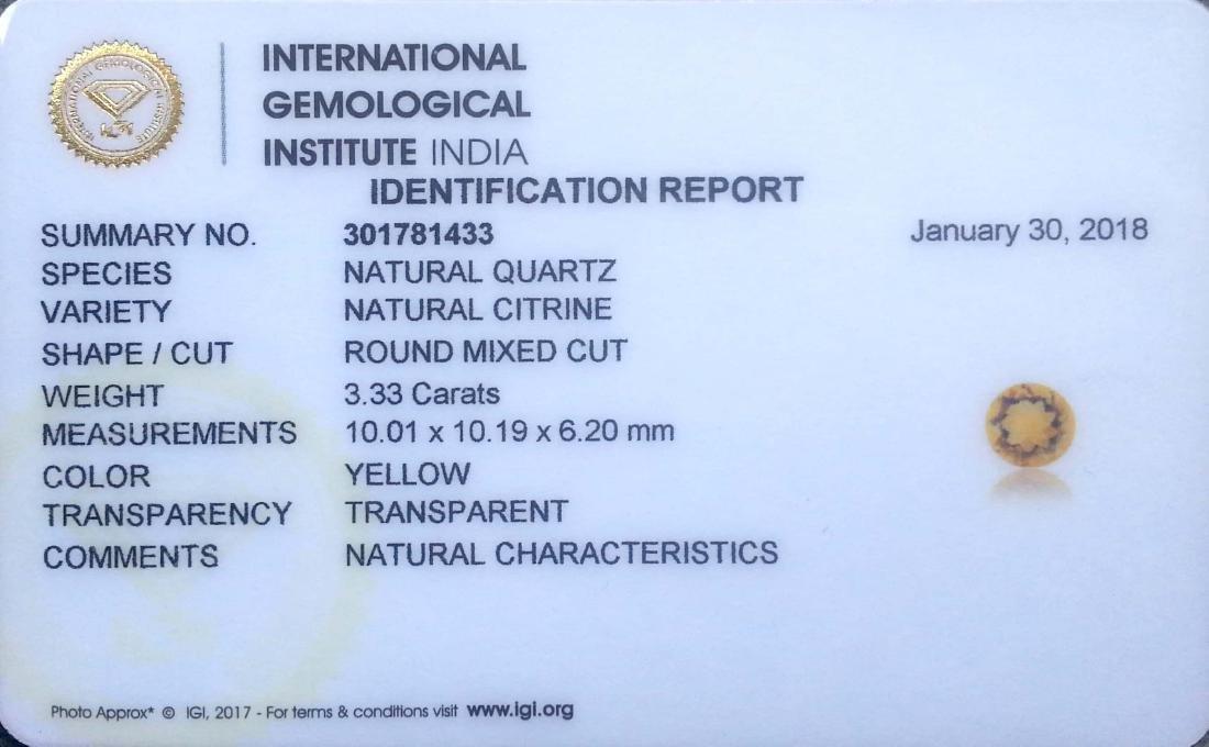 3.33 Ct IGI Certified Genuine Brazil Citrine 10 mm - 4