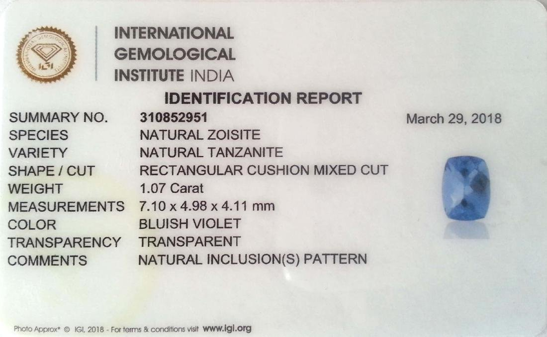 IGI Certified 1.07 Ct Natural Tanzanite Cushion cut - 3