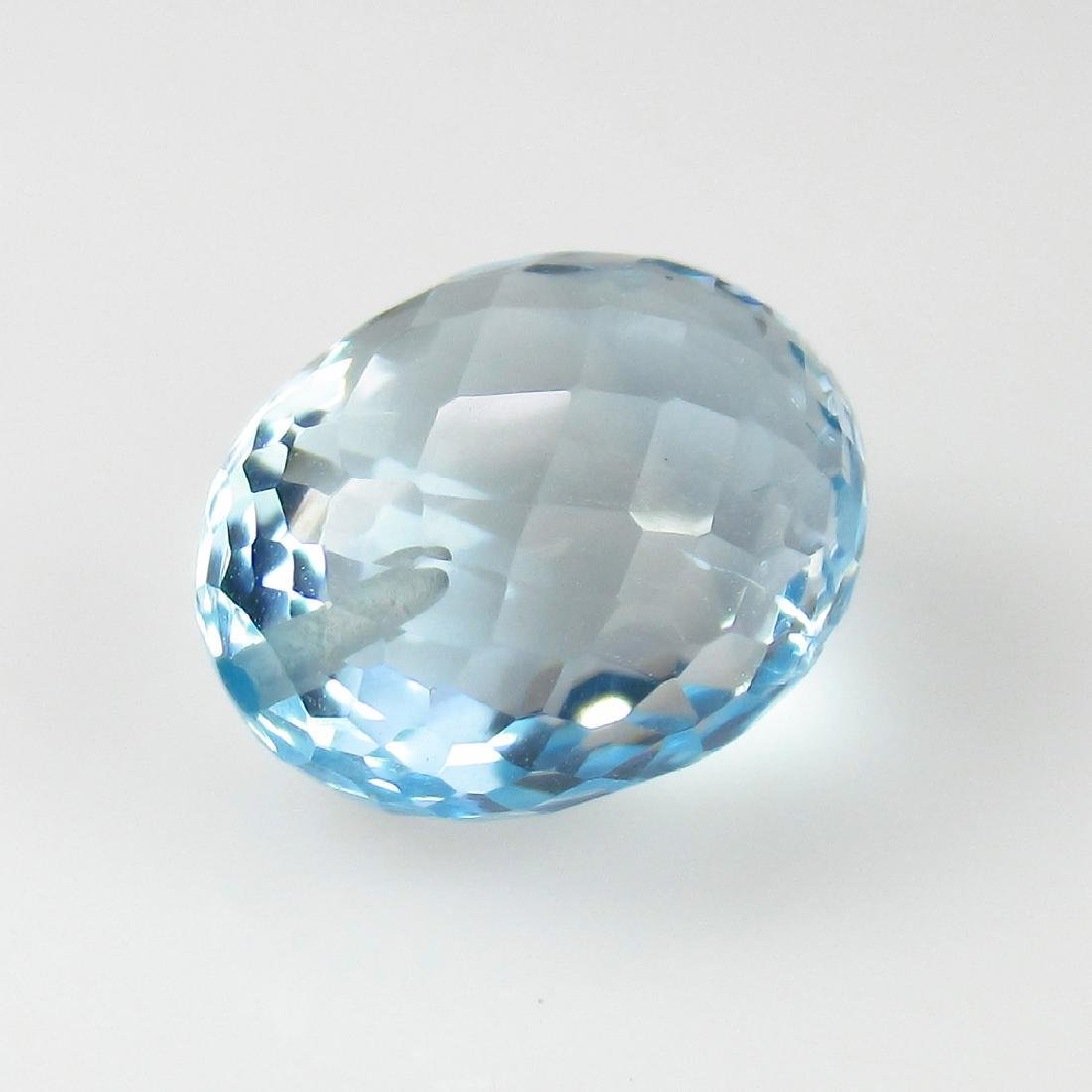 9.40 Ct Genuine Oval Checker Board cut Aquamarine Oval