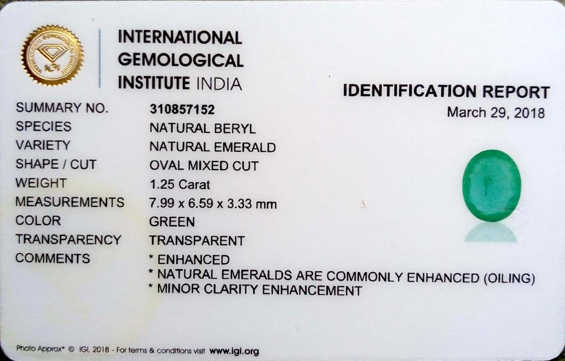 IGI Certified 1.25 Ct Genuine Zambian Emerald Nice Oval - 2