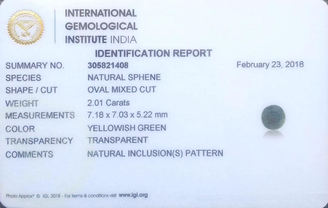 IGI Certified 2.01 Ct Genuine Yellowish Green Sphene - 4