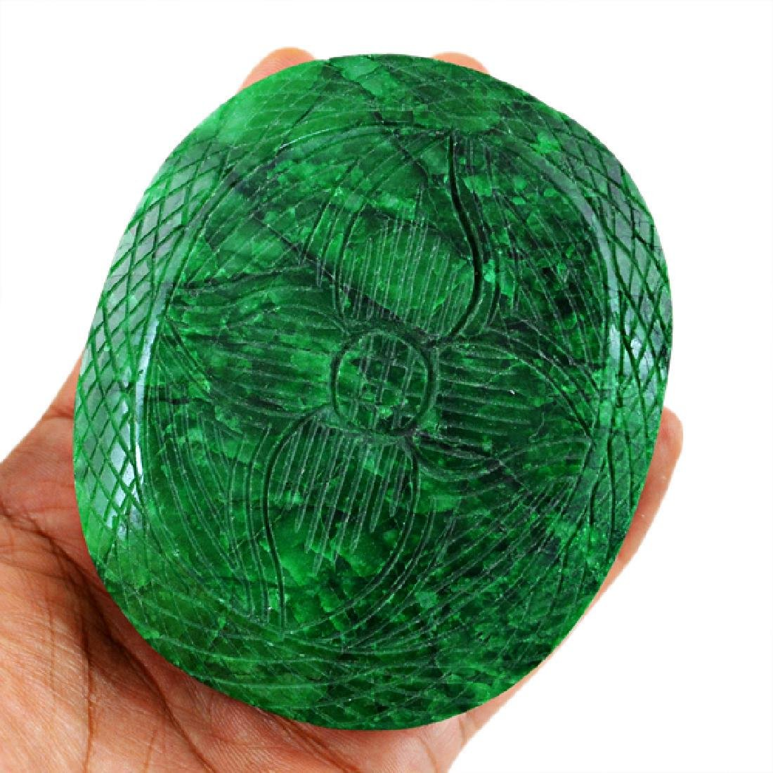 Green Emerald Carved Cabochon - 2