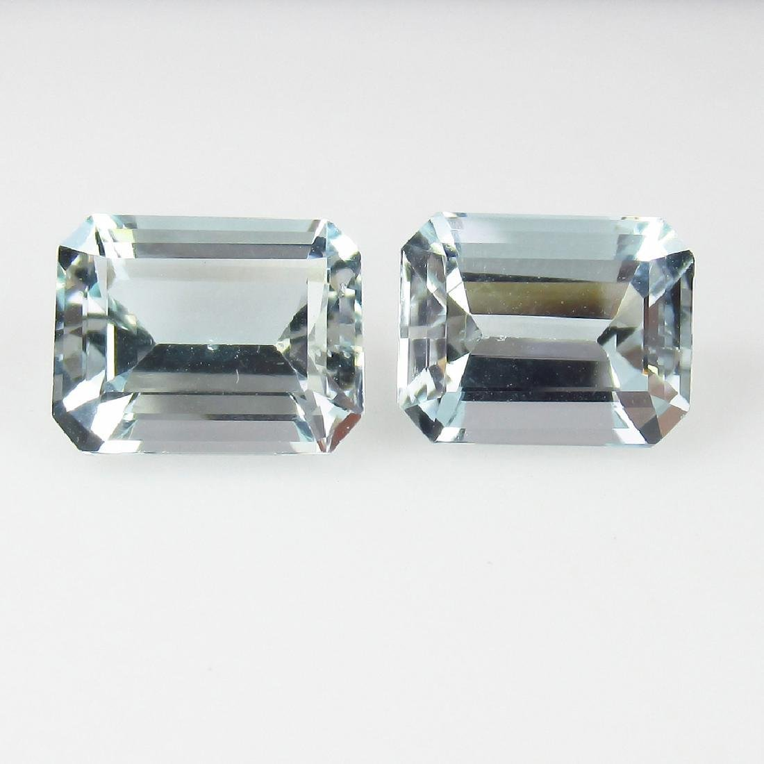 4.14 Ct Genuine Matching Emerald Cut Aquamarine Pair