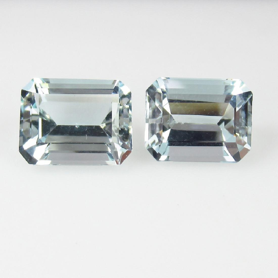 4.14 Ct Genuine Matching Emerald Cut Aquamarine Pair
