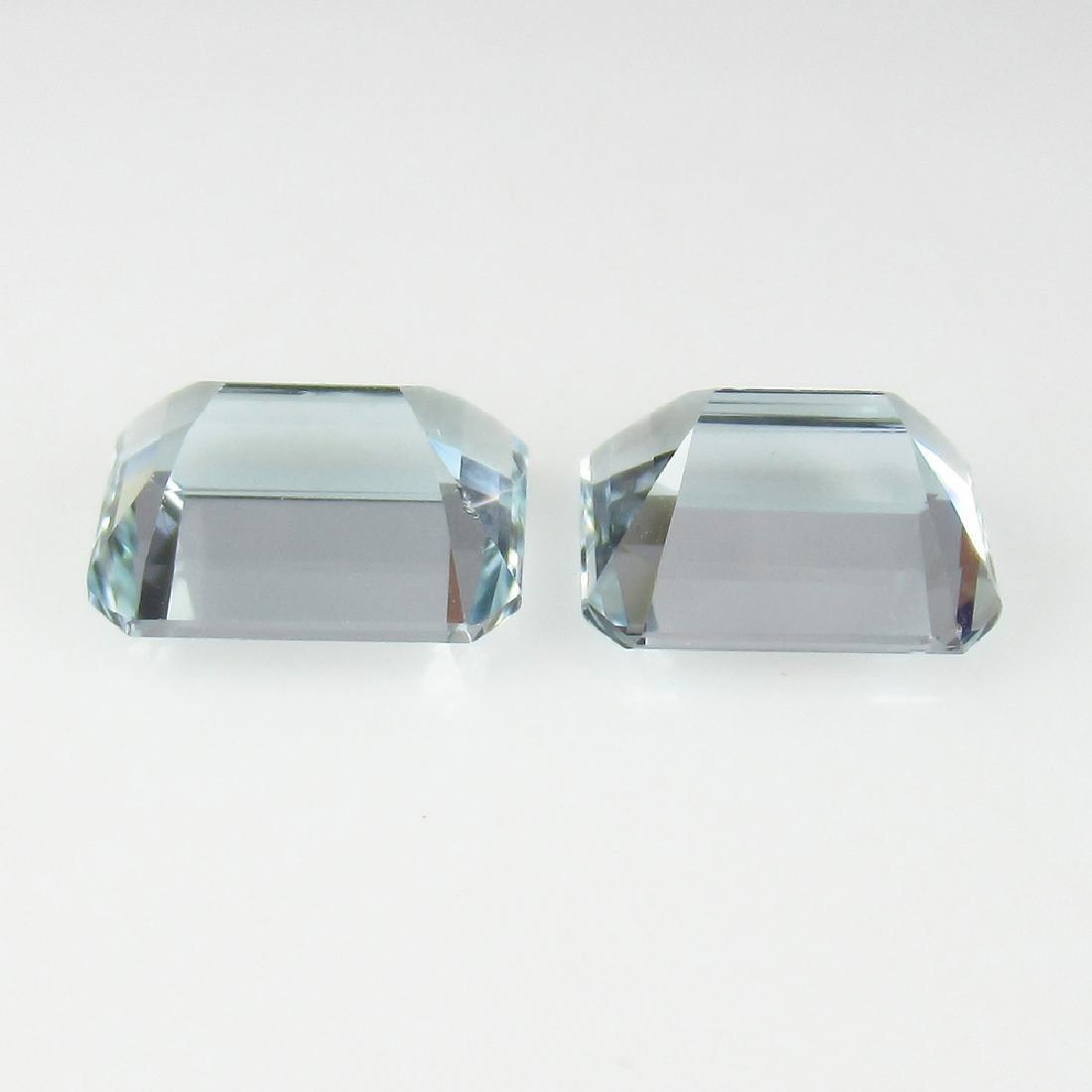 4.14 Ct Genuine Matching Emerald Cut Aquamarine Pair - 2