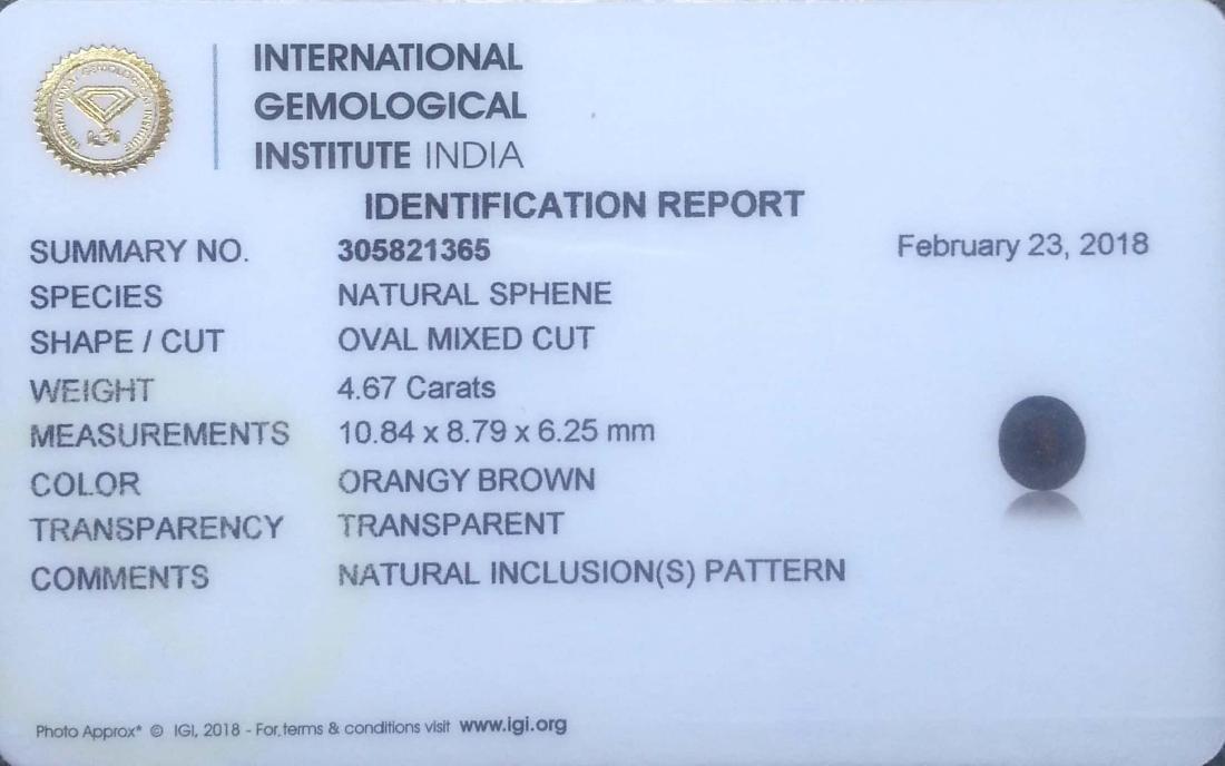 IGI Certified 4.67 Ct - Natural Loose Orangy Brown - 3