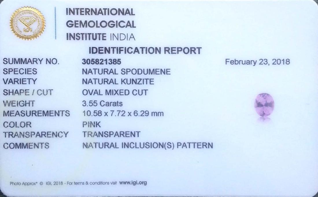 3.55 Ct IGI Certified Genuine Brazil Pink Spodumene - 2