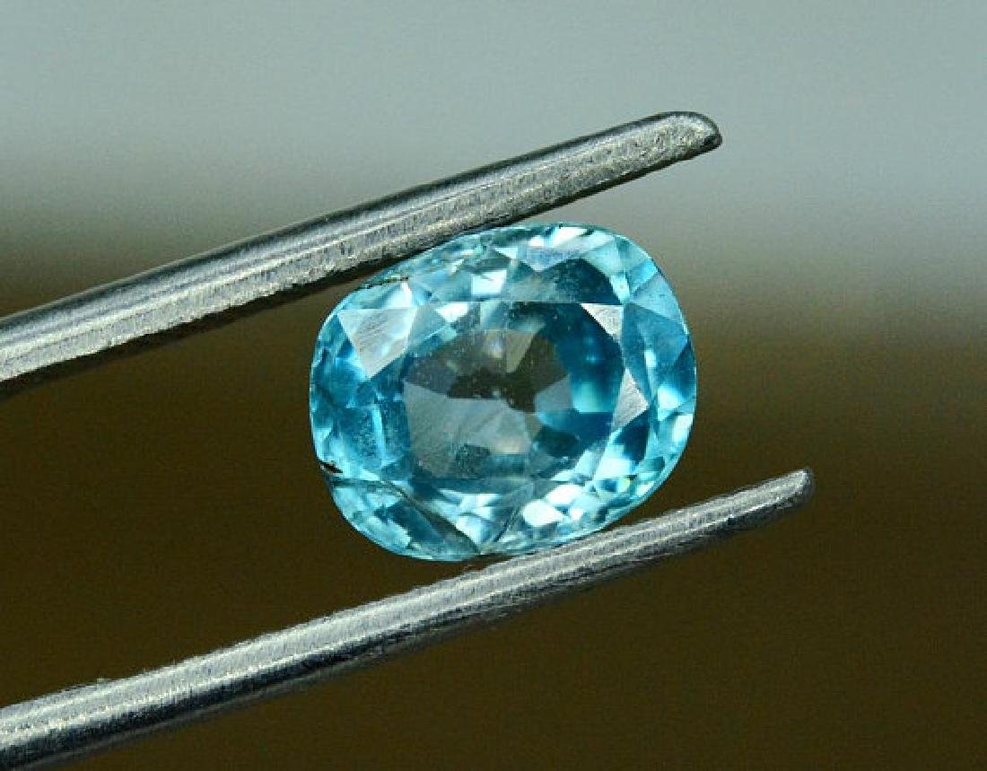 1.75 carats Blue Zircon Loose Gemstone from Cambodia - - 4
