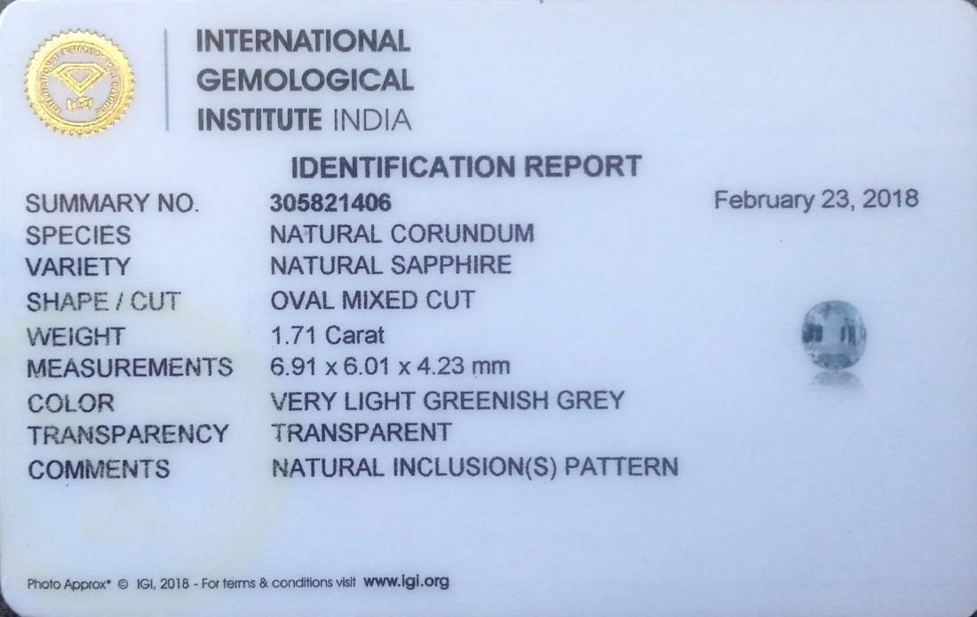 1.71 Ct IGI Certified Genuine Ceylon Unheated Blue - 2