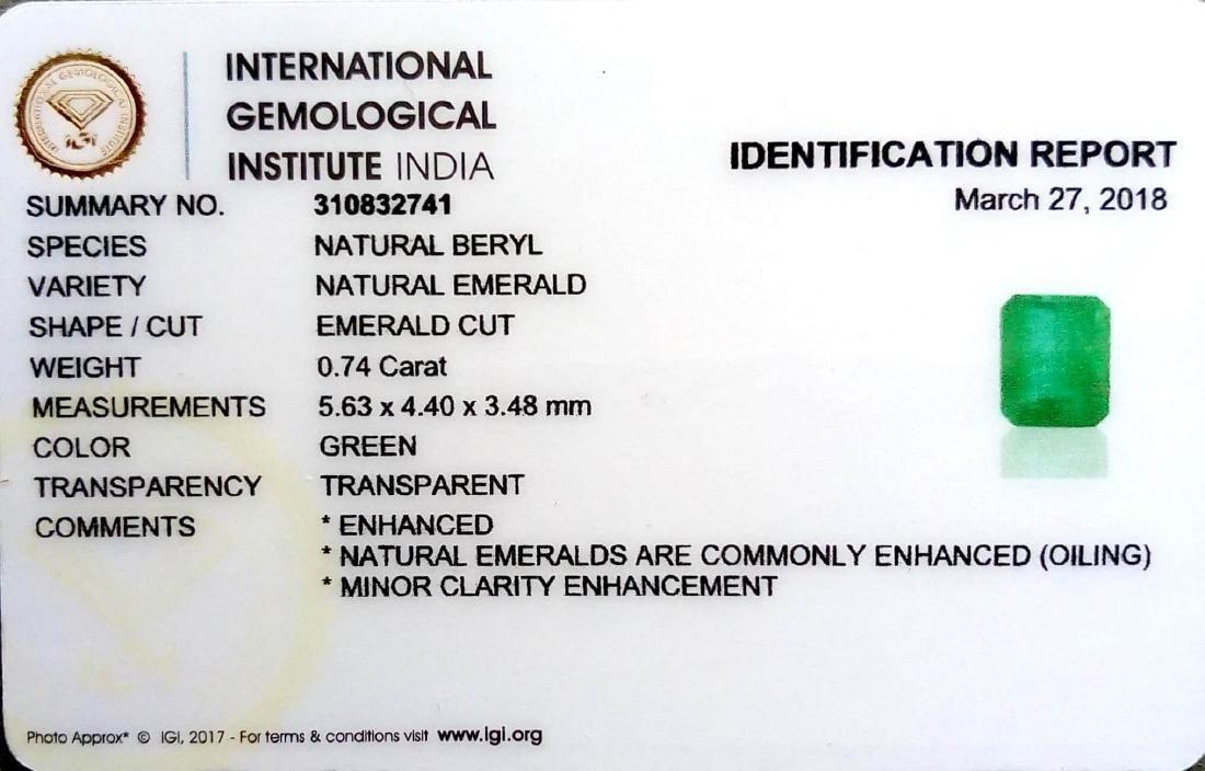 IGI Certified 0.74 Ct Genuine Zambian Emerald Very Good - 2