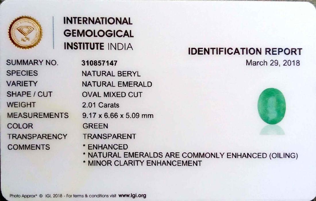 IGI Certified 2.01 Ct Genuine Colombian Emerald Good - 2