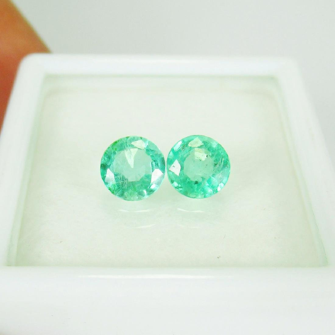 0.93 Ct Genuine Loose Zambian Emerald Round Pair