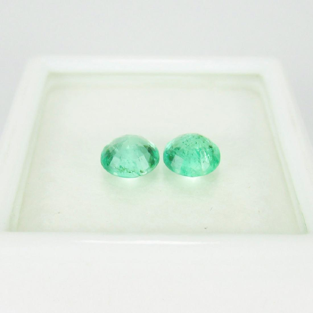 0.93 Ct Genuine Loose Zambian Emerald Round Pair - 2