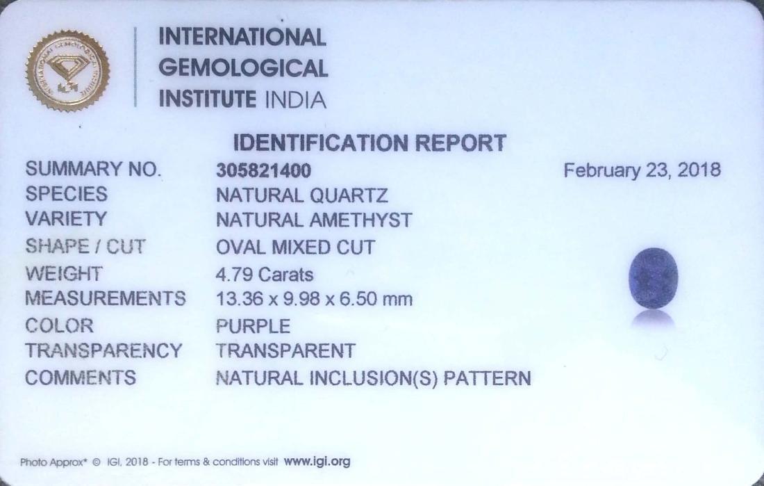4.79 Ct IGI Certified Genuine Brazil Purple Amethyst - 4