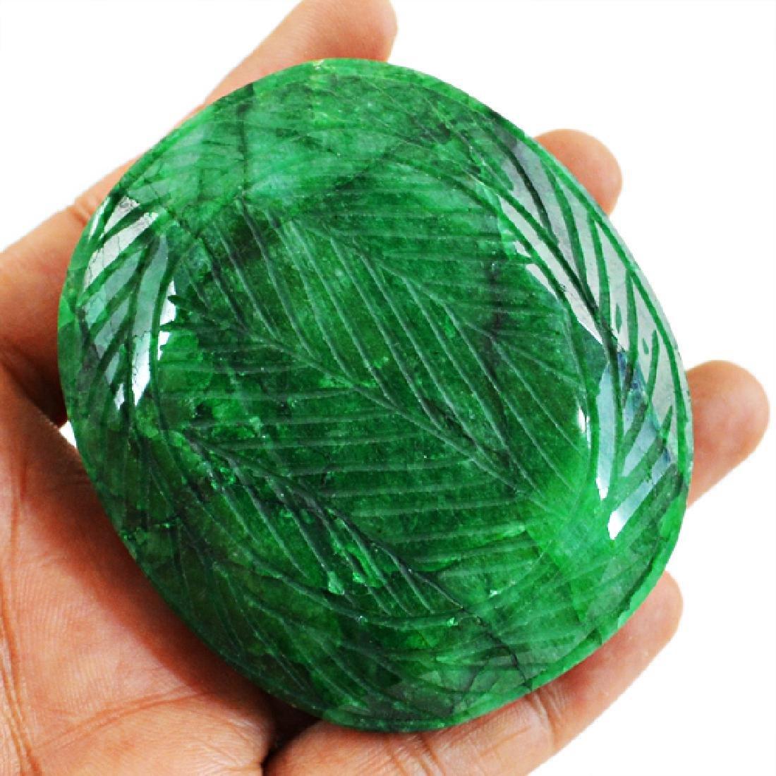 Green Emerald Carved Gem - 2